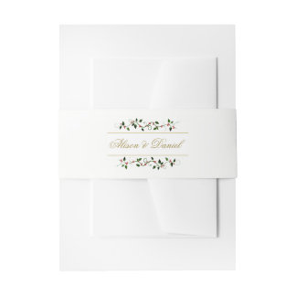 Faux Gold Christmas Holiday Holly Berry Vine Invitation Belly Band