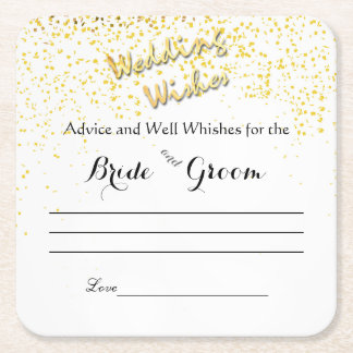 Faux, Gold Confetti, Advice and Well Wishes Square Paper Coaster