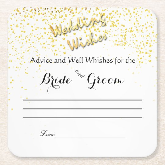 Faux, Gold Confetti, Advice and Well Wishes Square