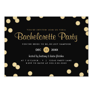 Faux Gold Confetti Bachelorette Party Invite