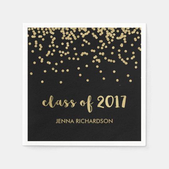 Faux Gold Confetti Black Class of 2017 Graduation