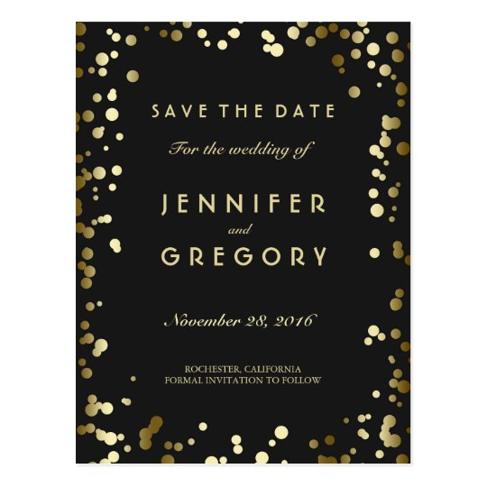 Faux Gold Confetti Black Save the Date Postcards