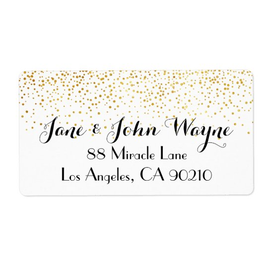 Faux Gold Confetti Dots Wedding Return Address Shipping Label