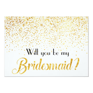 Faux Gold Confetti Dots Will you be My Bridesmaid Card