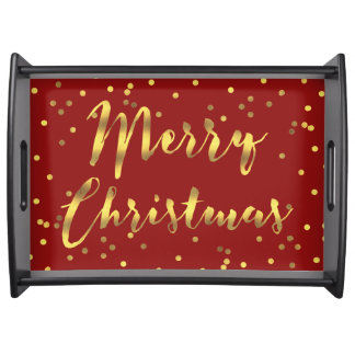 Faux Gold Confetti Merry Christmas Red Serving Tray