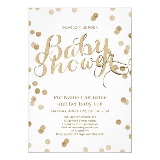 Faux Gold Confetti Modern Baby Shower Invitation