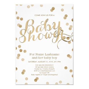 Baby shower invitations zazzle uk faux gold confetti modern baby shower invitation filmwisefo