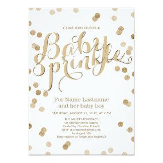 Faux Gold Confetti Modern Baby Sprinkle Invitation