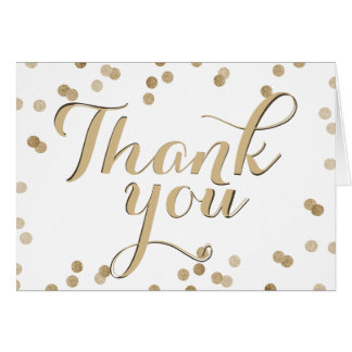 Faux Gold Confetti Modern Thank You Note Card