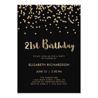Faux Gold Confetti on Black | 21st Birthday Party Card