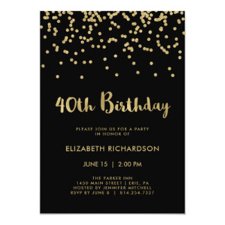 Faux Gold Confetti on Black | 40th Birthday Party Card