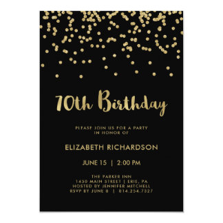 Faux Gold Confetti on Black | 70th Birthday Party Card
