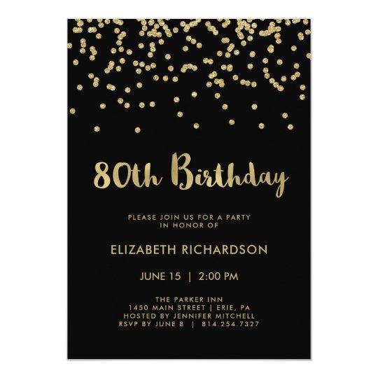 Faux Gold Confetti on Black | 80th Birthday