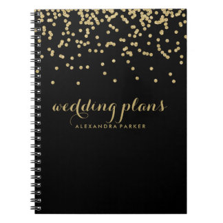 Faux Gold Confetti on Black | Any Subject Spiral Notebook