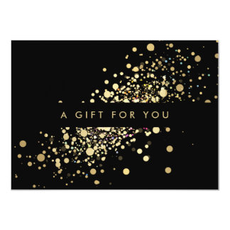Faux Gold Confetti on Black Gift Certificate 11 Cm X 16 Cm Invitation Card