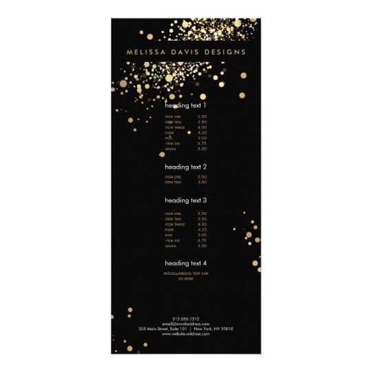 Faux Gold Confetti on Black Modern Rack Card