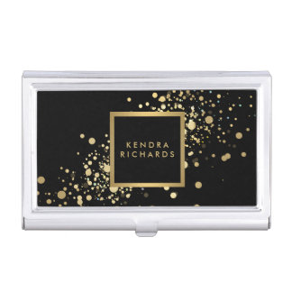 Faux Gold Confetti on Modern Black Card Case Business Card Holder