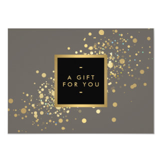 Faux Gold Confetti on Modern Gray Gift Certificate 4.5x6.25 Paper Invitation Card