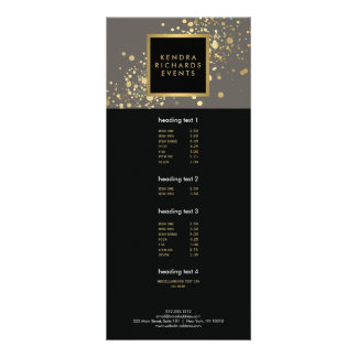 Faux Gold Confetti on Modern Gray Rack Card