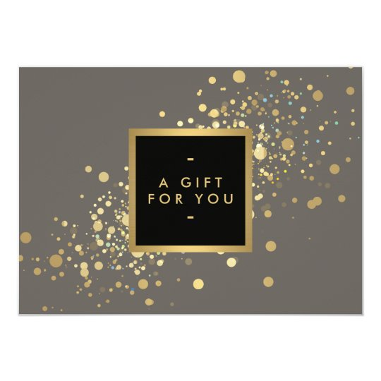 Faux Gold Confetti on Modern Grey Gift Certificate