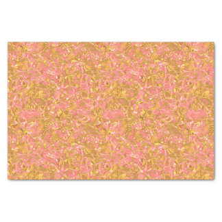 "Faux Gold Coral Pink Metallic Waves Pattern 10"" X 15"" Tissue Paper"
