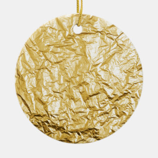 Faux Gold Crumpled Metallic Foil Effect Christmas Ornament