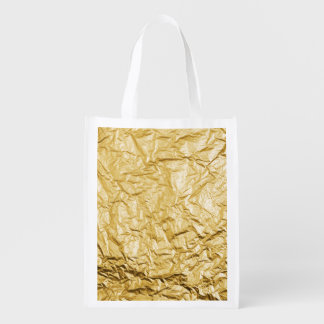 Faux Gold Crumpled Metallic Foil Effect Reusable Grocery Bag