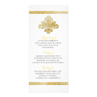 Faux Gold Damask Dinner Party Menu Teal Custom Full Colour Rack Card