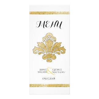 Faux Gold Damask Wedding Dinner Menu Black Custom Rack Card