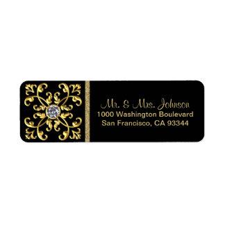Faux Gold Diamond Black Envelope Return Address