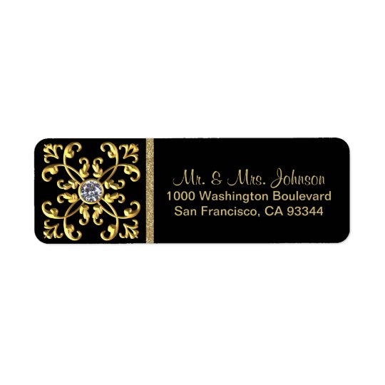 Faux Gold Diamond Black Envelope Return Address Return Address Label