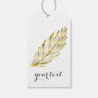 Faux Gold Feather Gift Tags