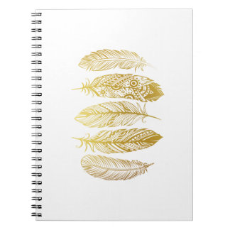 Faux Gold Feather Tribal Print Notebook