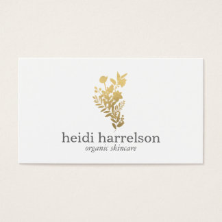 Faux Gold Floral Logo on White Business Card