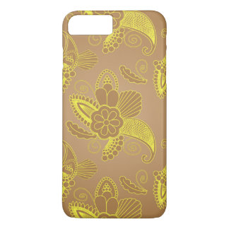 Faux Gold Floral Paisley on brown | Indian motif iPhone 8 Plus/7 Plus Case