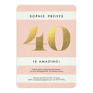 Faux Gold Foil 40th Birthday Invitation // Blush