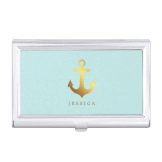 Faux Gold Foil Anchor Business Card Holder