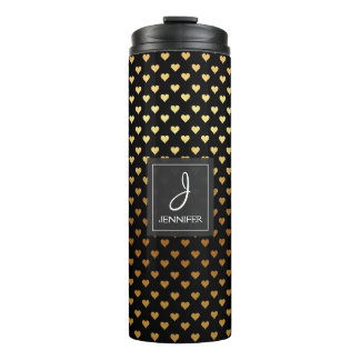 Faux Gold Foil and Black Heart Pattern Monogram Thermal Tumbler