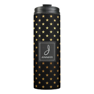 Faux Gold Foil and Black Star Pattern Monogram Thermal Tumbler