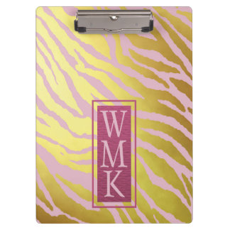 Faux Gold Foil and Pink Tiger Print Clipboard