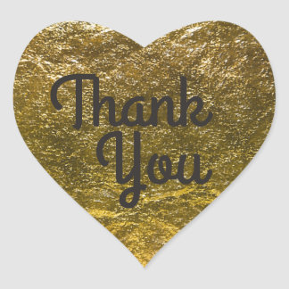 Faux Gold Foil Background | Elegant Thank You Heart Sticker