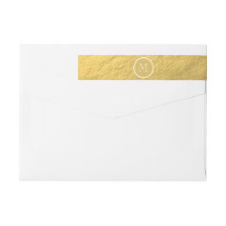 Faux Gold Foil Background Monogram Wrap Around Label
