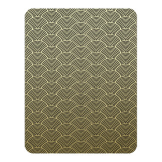 Faux Gold Foil Black Circle Fan Pattern Card