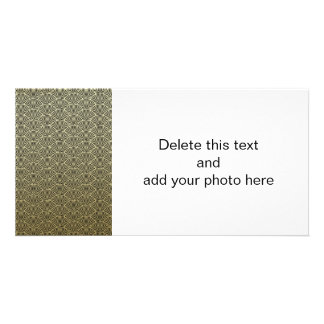 Faux Gold Foil Black Circle Fan Pattern Personalized Photo Card