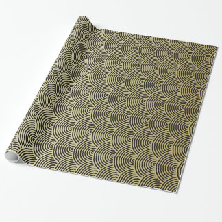 Faux Gold Foil Black Circle Fan Pattern Wrapping Paper