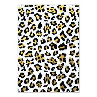 Faux Gold Foil Black Leopard Print Pattern Card