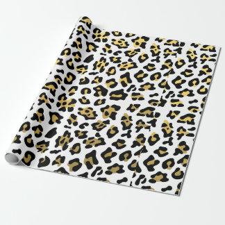 Faux Gold Foil Black Leopard Print Pattern Wrapping Paper