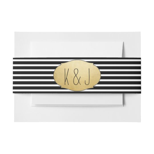 Faux Gold Foil Black Stripes Wedding Monogram Invitation