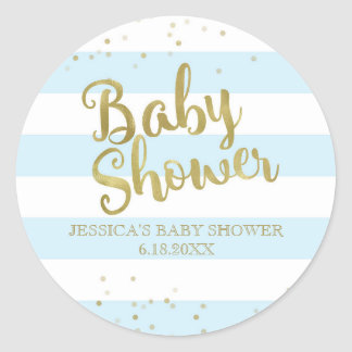 Faux Gold Foil Blue Stripes Baby Shower Boy Favor Classic Round Sticker