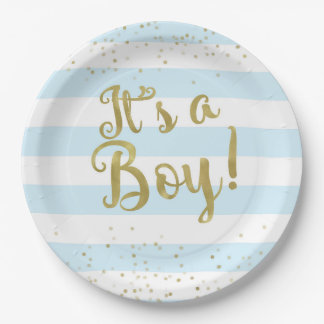 faux gold foil blue stripes baby shower its a boy 9 inch paper plate